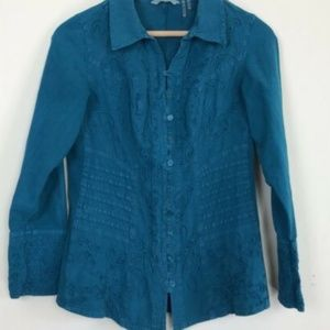 [Soft Surroundings] Western Teal Embroidered Top
